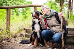 Hiking woman with rucksack and her bernese mountain dog on a trail