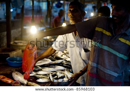 HIKKADUWA, SRI LANKA - JANUARY 23: Seller at a fish market on January 23, 2011 in Hikkaduwa, Sri Lanka. Fishing in Sri Lanka is a tough job but this is the way they earn their living