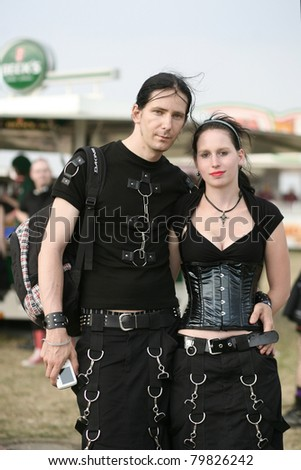 HILDESHEIM, GERMANY - AUGUST 9: Dressed visitors in the gothic Festival M'Era Luna on August 9, 2009 in Hildesheim, Germany