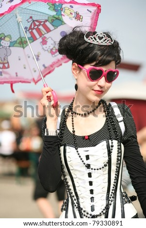 HILDESHEIM, GERMANY - AUGUST 10: participant of the gothic Festival M'Era Luna on August 10, 2010 in Hildesheim, Germany