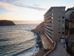 Hill side flat house with amazing view to bay of Port de Andratx, Mallorca island, Spain