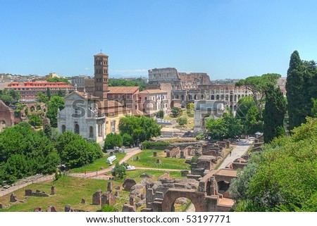 Hill-top view of the Roman Forum