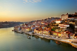 hill with old town of  Porto and river Douro at sunset, Portugal