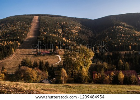 Hill with slope road. Hills whit slopes. Slopes on the mountains. #1209484954