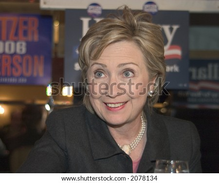 Hillary Clinton, New York Senator and former First Lady, wife of President Bill Clinton