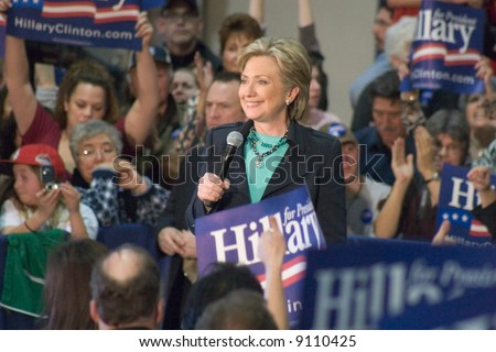 Hillary Clinton speaking at a presidential campaign Rally townhall meeting style, February 2, 2008.