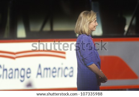 Hillary Rodham Clinton at the Clinton/Gore 1992 Buscapade campaign kick off tour in Cleveland, Ohio