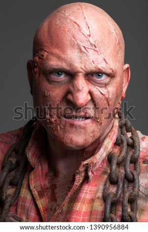 Hillbilly Slasher / Horror Villain, Bald Caucasian Male #1390956884