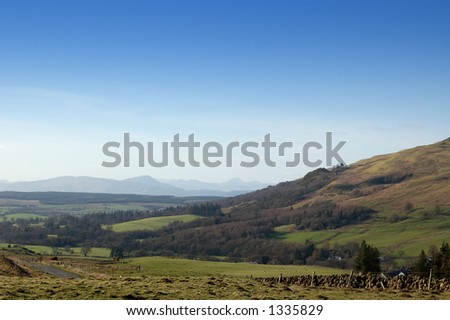 Hills above Fintry, Central Scotland. Highland hills in the distance
