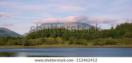 Hills and cloud in Loch Awe near Oban, Scotland