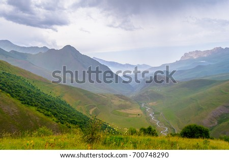 Hills and rocks around Dunta in the  Caucasus Mountains  #700748290