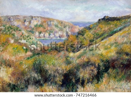 Hills around Bay of Moulin Huet, Guernsey, by Auguste Renoir, 1883, French impressionist painting. Renoir painted views of the bay and the beach of Moulin Huet, on the islands south coast during his v