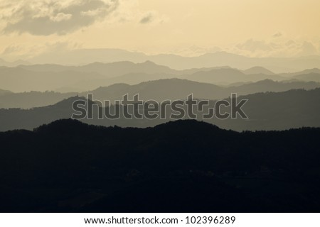 Hills at sunset in Emilia Romagna Italy