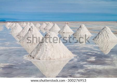 Hills of salt - salt extraction area at the world\'s biggest salt plain Salar de Uyuni, Bolivia