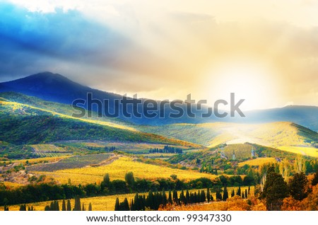 Hills with vineyards on sunset time in Crimea Ukraine - stock photo