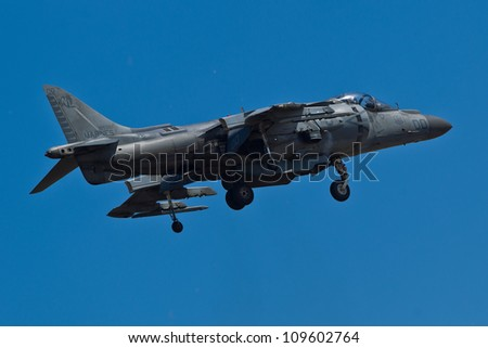 HILLSBORO, OR AUG 5: U.S. Marine Corps AV-8B Harrier II Demonstration Team presents aircraft during Oregon Air Show at Hillsboro Airport on August 5, 2012 in Hillsboro, OR.