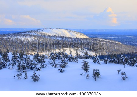 hilly landscapes in famous winter sports area called Ruka
