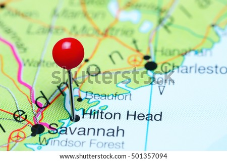 Hilton Head pinned on a map of South Carolina, USA  #501357094