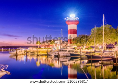 Hilton Head, South Carolina, lighthouse at dusk. #1100296817
