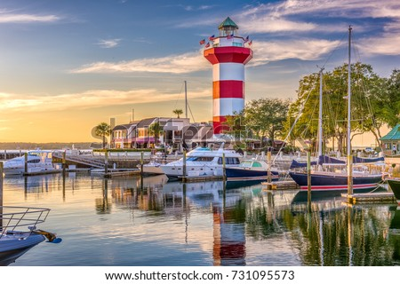Hilton Head, South Carolina, lighthouse at dusk. #731095573