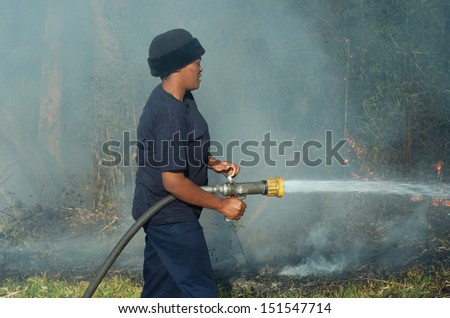 HILTON, PIETERMARITZBURG, SOUTH AFRICA - 26 AUGUST 2013: An unidentified African female firefighter helps extinguish a bush veld fire allegedly started by shorting power lines in Hilton, South Africa, 26 August, 2013.