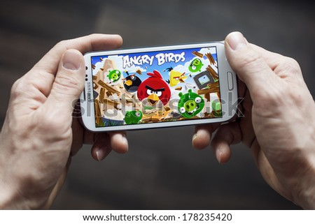 HILVERSUM NETHERLANDS FEBRUARY 23 2014 Angry Birds is a video game by Finnish game developer Rovio Entertainment first released for iOS in 2009 It sold over 2 billion copies across all platforms