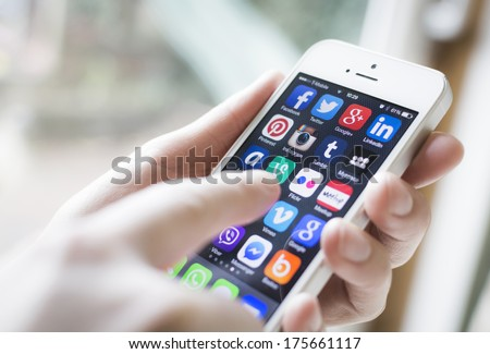 HILVERSUM, NETHERLANDS - FEBRUARY 06, 2014: Social media are trending and both business as consumer are using it for information sharing and networking.