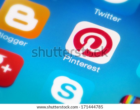HILVERSUM, NETHERLANDS - JANUARY 15, 2014: Pinterest is a pinboard-style photo-sharing website that allows users to create and manage theme-based image collections like events, interests, and hobbies