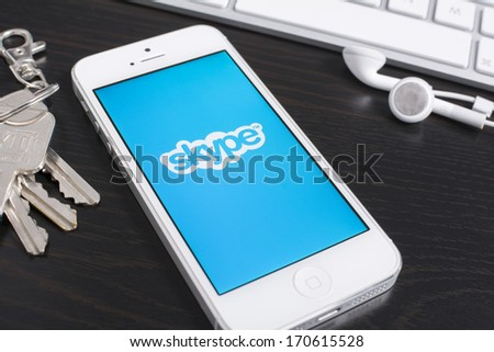 HILVERSUM, NETHERLANDS - JANUARY 08, 2014: Skype is a voice-over-IP service and instant messaging client, developed by the Microsoft Skype Division. The name was derived from \