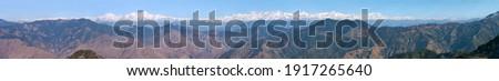 Himalaya, panoramic view of Indian Himalayas mountains, great Himalayan range, Uttarakhand India, view from Mussoorie road, to mounts Nanda Devi and Chaukhamba
