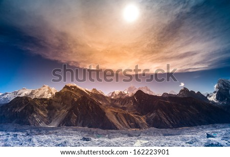 Himalaya scenic mountain landscape against the sunset sky #162223901