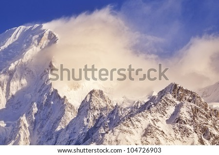 Himalayan mountain at sunrise.