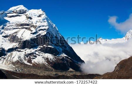 Himalayan mountain landscape in the Everest Region of the Himalayas, Nepal.