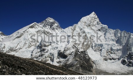 Himalayan mountain landscape, Mt. Everest on the left side, Mt. Nuptse on the right, Nepal, Everest Region