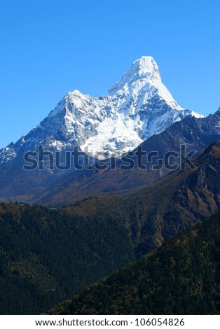 Himalayan mountain landscape, Nepal, Everest Region, Mt. Ama Dablam