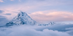 himalayan mountain top above the clouds, annapurna, nepal