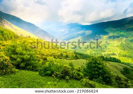 Himalayan mountains and rice field, Nepal