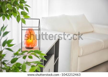 Himalayan salt lamp on shelving unit indoors #1042212463