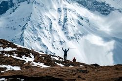 Himalayas landscape, Annapurna circuit trek, tourist reaching top of the trek to high altitude Tilicho lake view