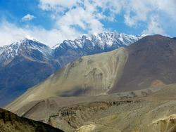 Himalayas landscape. Majestic Himalayan mountains in Mustang district Nepal. Kali gandaki wilderness valley. Dhaulagiri massif. Annapurna conservation area.