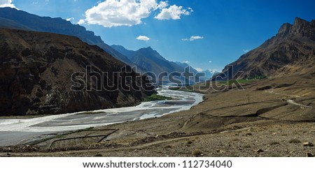 himalayas mountain and river in summer time