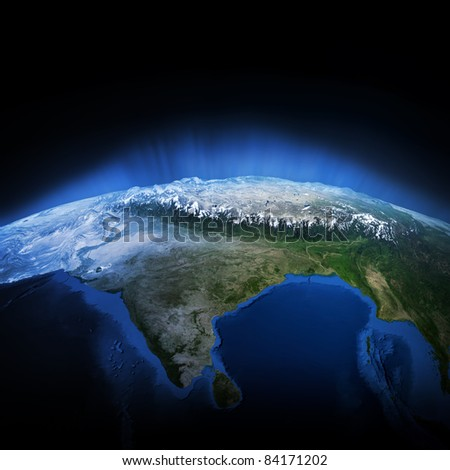 Himalayas mountains. Earth lights 3d render, elements of this image furnished by NASA