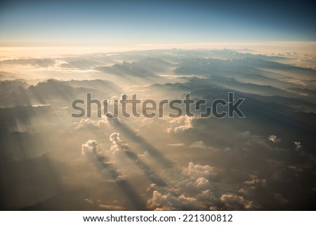 Stock Photo Himalayas mountains Everest range panorama aerial view