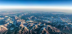 Himalayian Mountain range from the air.