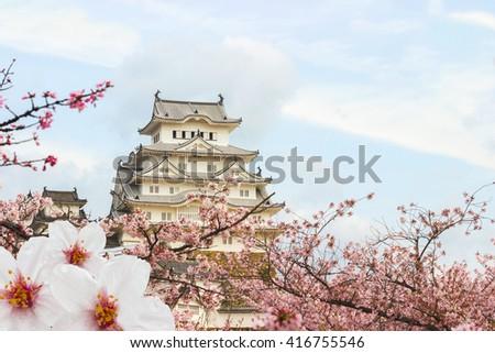 Himeji Castle and full cherry blossom, One of Japan\'s premier historic castles, Japan