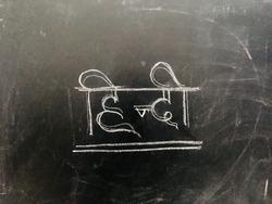 Hindi Handwritten Letter on Blackboard. Translation of written word means Hindi Language.