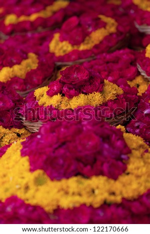 Hindu Flowers Holy flowers, found inside any Hindu temple in India. - stock photo