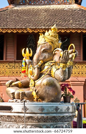 Hindu God Ganesh with Clipping Path, Chiangmai Province, North of Thailand