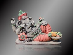 Hindu God Ganesha Lord of Success isolate on gradient Black and white background