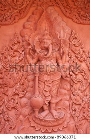 Hindu god statue in Thai temple,Koh samui,Thailand - stock photo